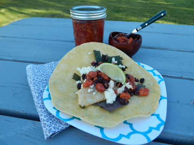 Fish Tacos with Smoky Sour Cherry–Tequila Salsa
