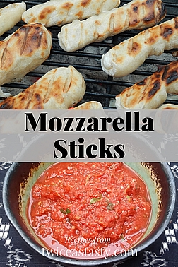 Grilling a small batch of tomatoes to sauce and freeze in cubes creates an ideal dip for mozzarella-filled breadsticks. Learn to make Grilled Tomato Pizza Sauce and Stuffed and Grilled Breadsticks.