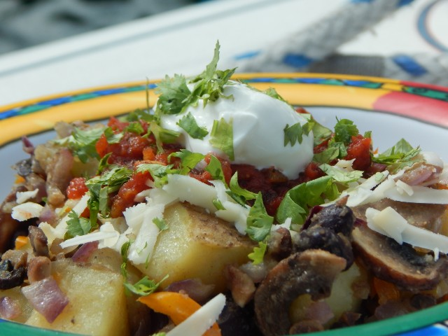 Potato bowls travel well and fit my one prep, two meals plan. Get potato recipes at TwiceasTasty.com.