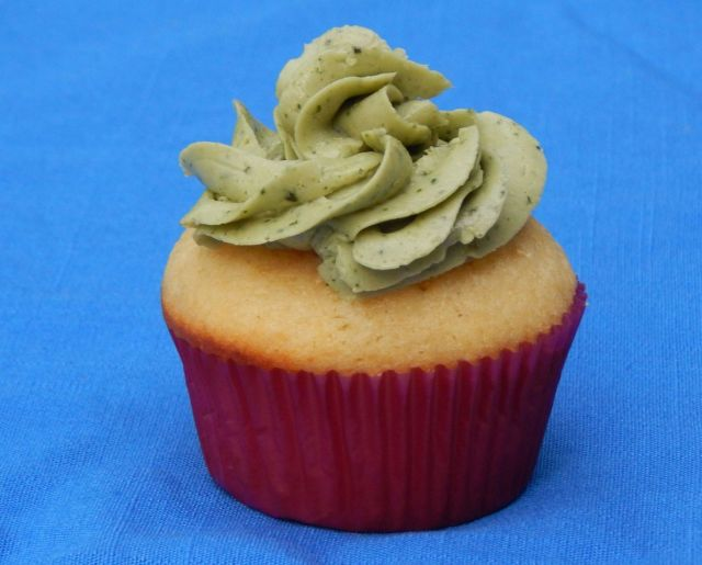 Buttery Jam-Filled Cupcakes with Basil Buttercream